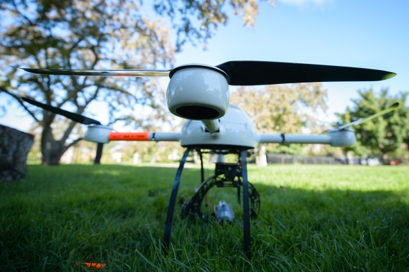 Drone airplane of Bruno Basso, associate professor of geological sciences, on Tuesday September 3, 2013.